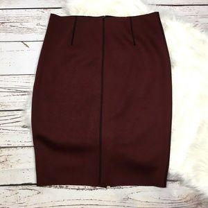 Ann Taylor Burgundy Contrast Penccil skirt 6